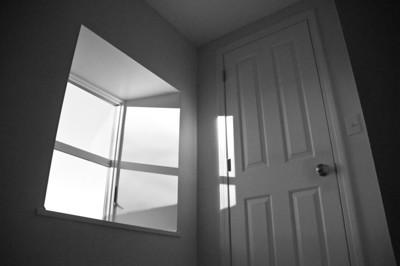 Farm house - window art - window and door on second floor