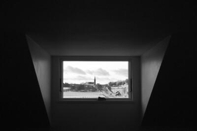 Farm house - window art - through window looking west to Ashton