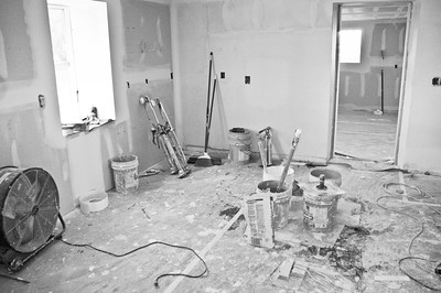 Farm house remodeling - the old kitchen during dry walling