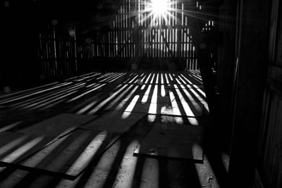 Farmstead - building - barn - shadows in haybarn - 1