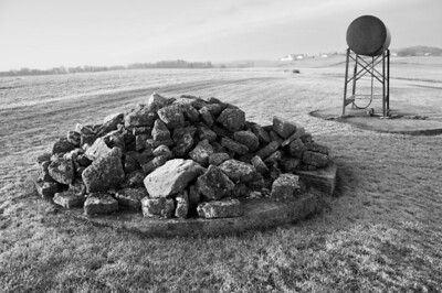 Farmstead - scenic - gas tank and limestone rock pile