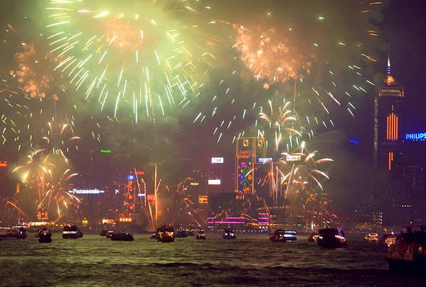 New Year's Celebration, Victoria Harbour, Hong Kong