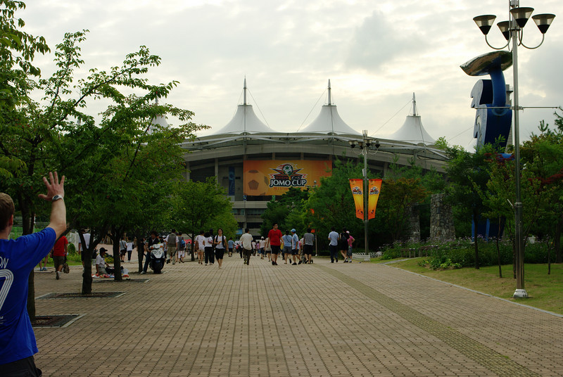 Walking up to the stadium