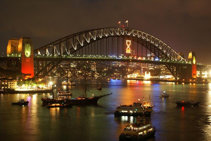 Sydney Harbor Bridge on new years eve