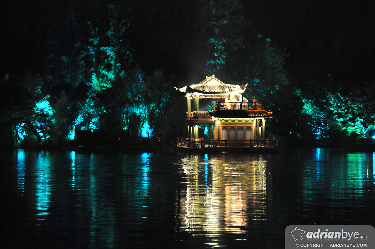 """Part of the show """"Impression West Lake"""" in Hangzhou, made by the guy who designed a lot of the opening ceremony for the olympic games"""