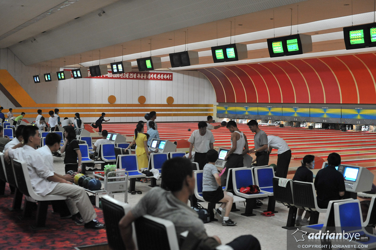 This is a bowling alley, apparently bowling is quite popular in north korea.