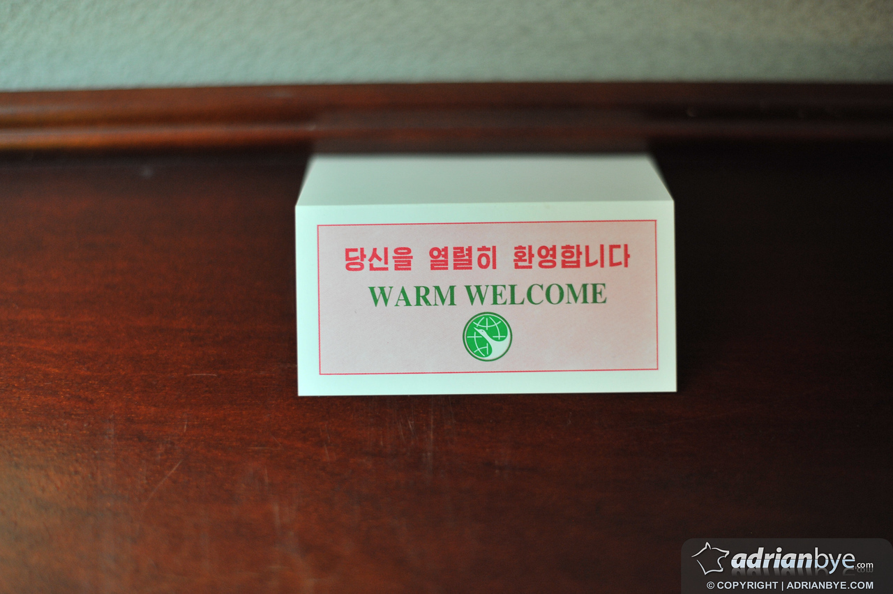 This was on the desk of the hotel bedroom when we arrived.  Despite the image of North Korea externally, we DID get a warm welcome and we were treated well.