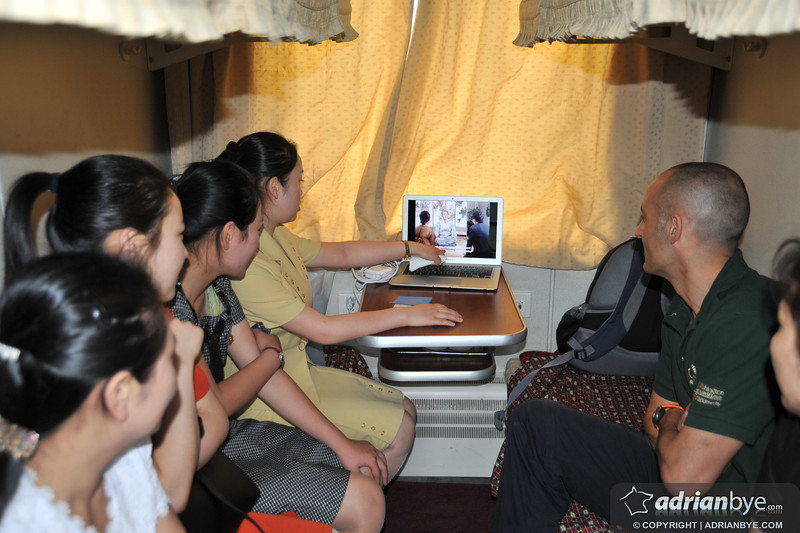 On the train back to Beijing I put a North Korean movie on my laptop so we watched it with the North Korean girls who were assigned to our cabin; Korean audio, english subtitles!