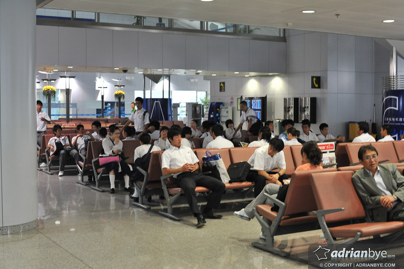 North Koreans at the airport in Beijing waiting to go home