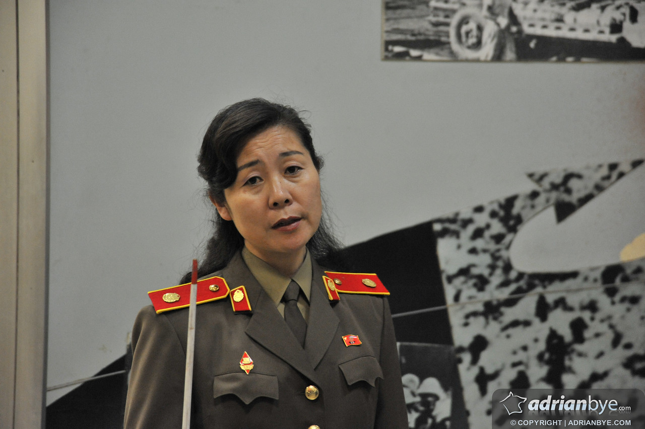A north korean military woman who was explaining to us how bad the USA is