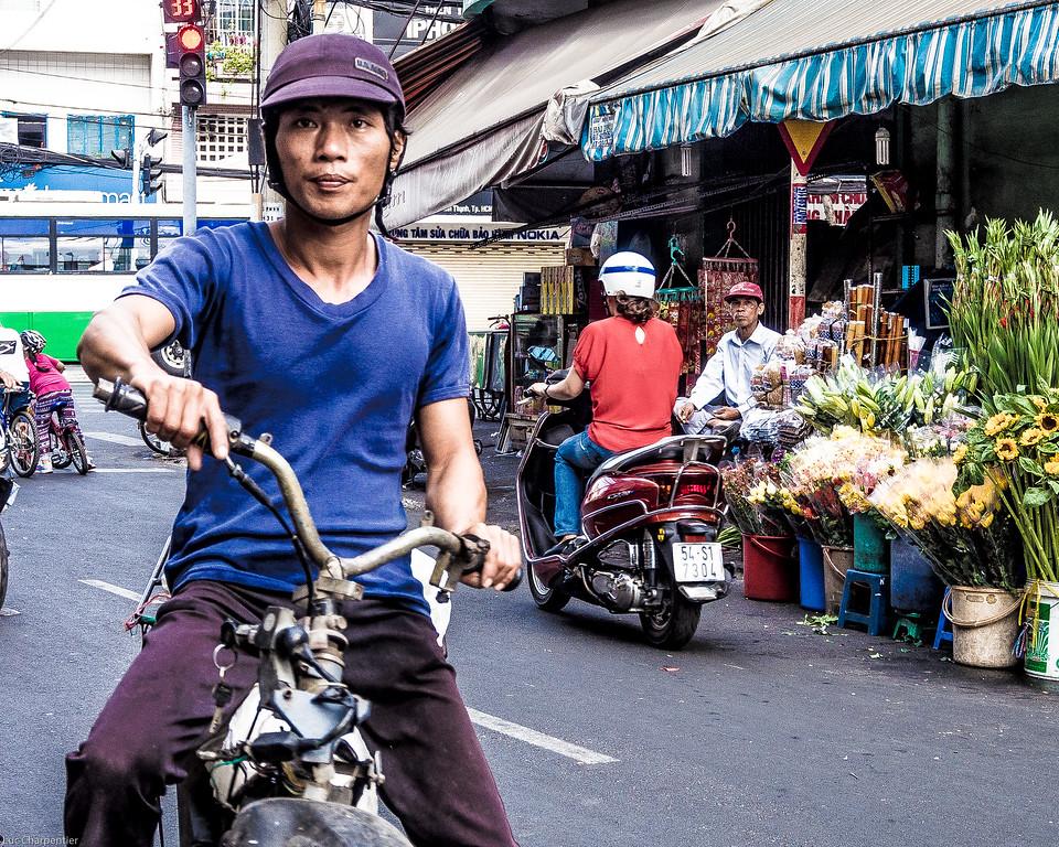 Morotocyclist at the market