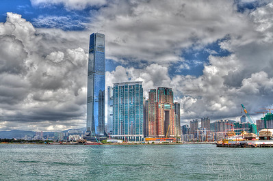Hong Kong sky rise on the water.