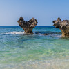 Romantic heart-shaped rocks of Kouri Island Okinawa