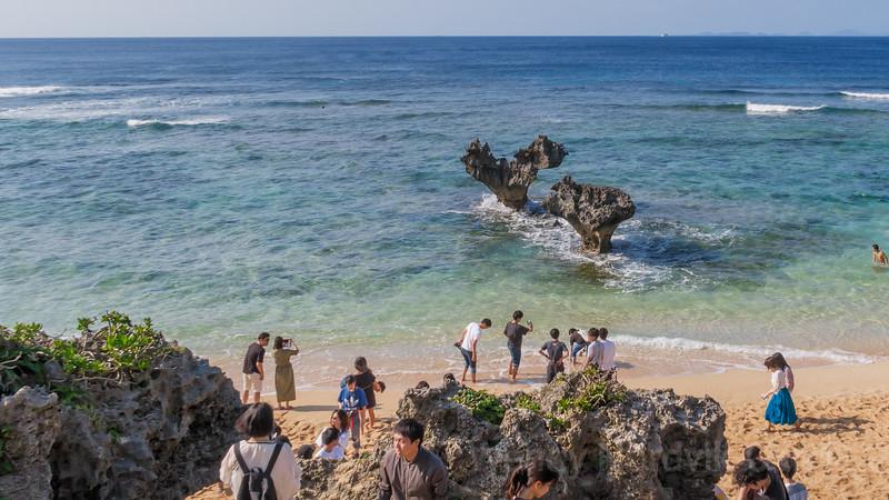 Romantic heart-shaped rocks of Kouri Island Okinawa