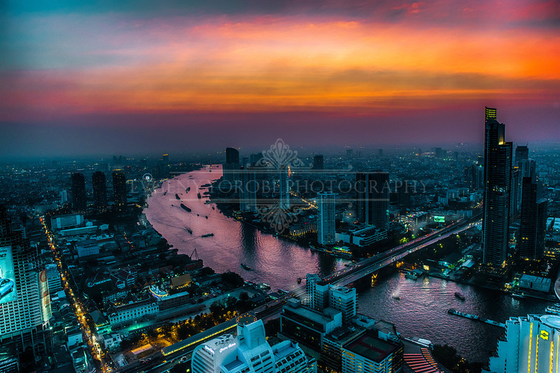 Bangkok, Thailand Skyline Sunset Afterglow