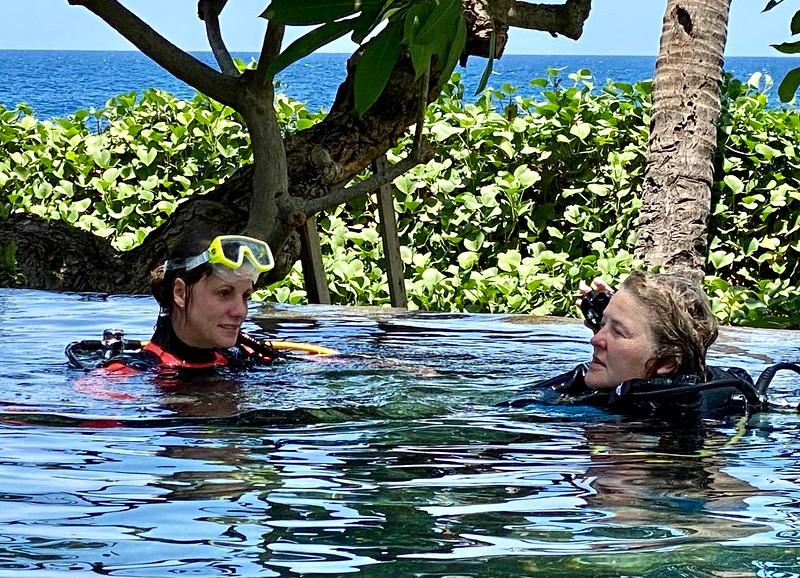 Dive instructor, Nina, teaching in VM pool
