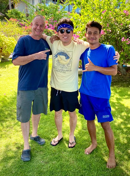 With Budi, dive guide and nudie spotter extraordinaire, and VM Resort Jester, Pedro