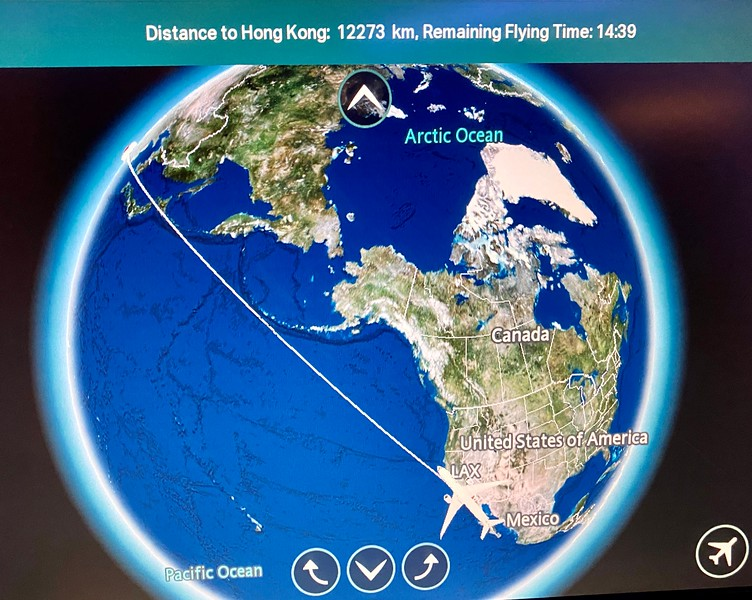 LAX to HKG route