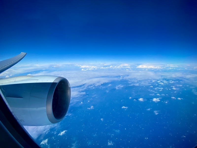 Over the Pacific Ocean, enroute to LAX