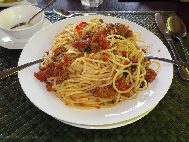 Delicious spaghetti (recipe by Francesco de Marchi), which I enjoyed for every lunch!<br /> Villa Markisa, Tulamben, Bali, Indonesia.