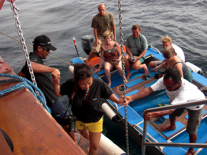 Assisting Indra back on board