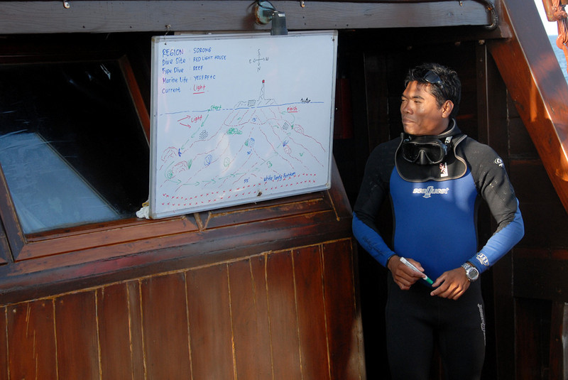 Dive master, Made, giving dive briefing