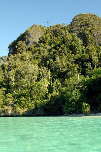 Land excursion destination i.e. top of the steep mini-mountain, near the lone palm tree
