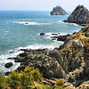 Oryukdo, consisting of 5 rocky islands, separates the East Sea from the South Sea in Busan, Korea.