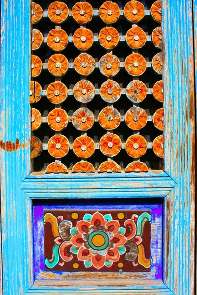 Door of a Buddhist Temple along the path up Apsan in Daegu, Korea.