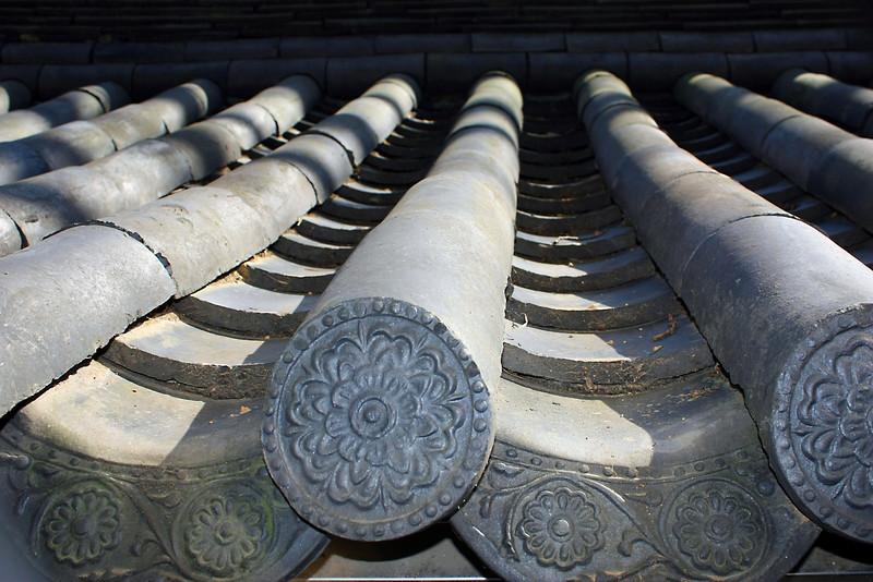 Top of a temple structure along Apsan in Daegu, Korea.