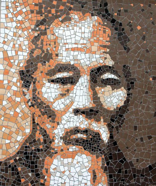 Mosaic downtown Daegu next to the Catholic Gyesan Cathedral.