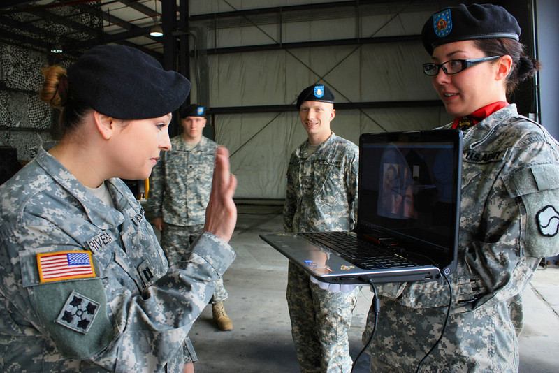 CPT Rivera's Change of Command ceremony on Osan Air Base in Korea..... her daughters could only be there for the ceremony via the internet.