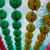 Balloons at a temple for Buddha's birthday.
