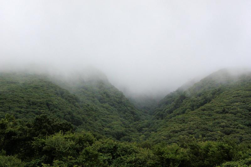 Moody volcanic mountain of Jeju Island, Korea.