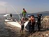 Boarding the dive boat<br /> Club Ocellaris<br /> Anilao, Philippines