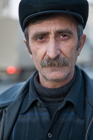 Baku, Azerbaijan - February 2008: Portrait of an Azeri man with a moustache. (Photo by Christopher Herwig)