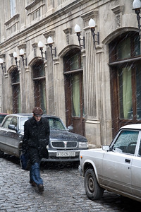 Baku, Azerbaijan - February 2008: Narrow street in the old town of Baku, Azerbaijan on a rainy winters day. (Photo by Christopher Herwig)