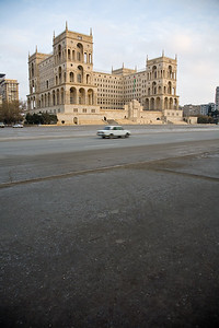 Baku, Azerbaijan - February 2008:  Dom Soviet on Azadliq Square on the shore of the Caspian Sea in the capital city of Baku, Azerbaijan.  The massive building is a blend of Soviet and Islamic architectural influences and served as the government headquarters during the USSR.  (Photo by Christopher Herwig)