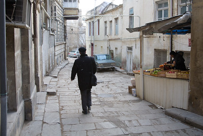 Baku, Azerbaijan - February 2008: Narrow street in the old town of Baku, Azerbaijan. (Photo by Christopher Herwig)