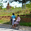 Local kids riding around the temples