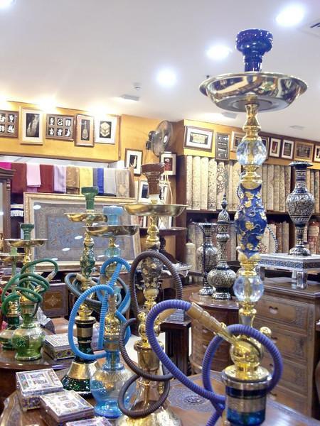 Hookahs for sale in the Bab Al-Bahrain souk.