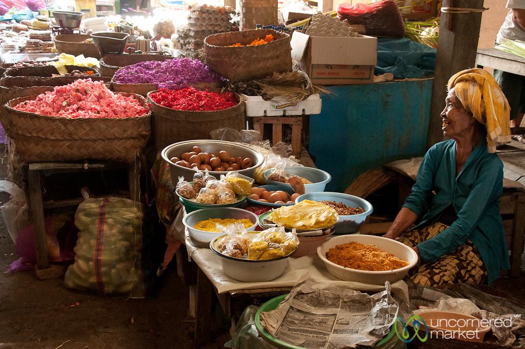 Older Vendor at a Balinese Market - Semarapura, Bali