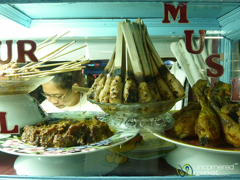 Plates of Sate at Sanur Night Market - Bali, Indonesia