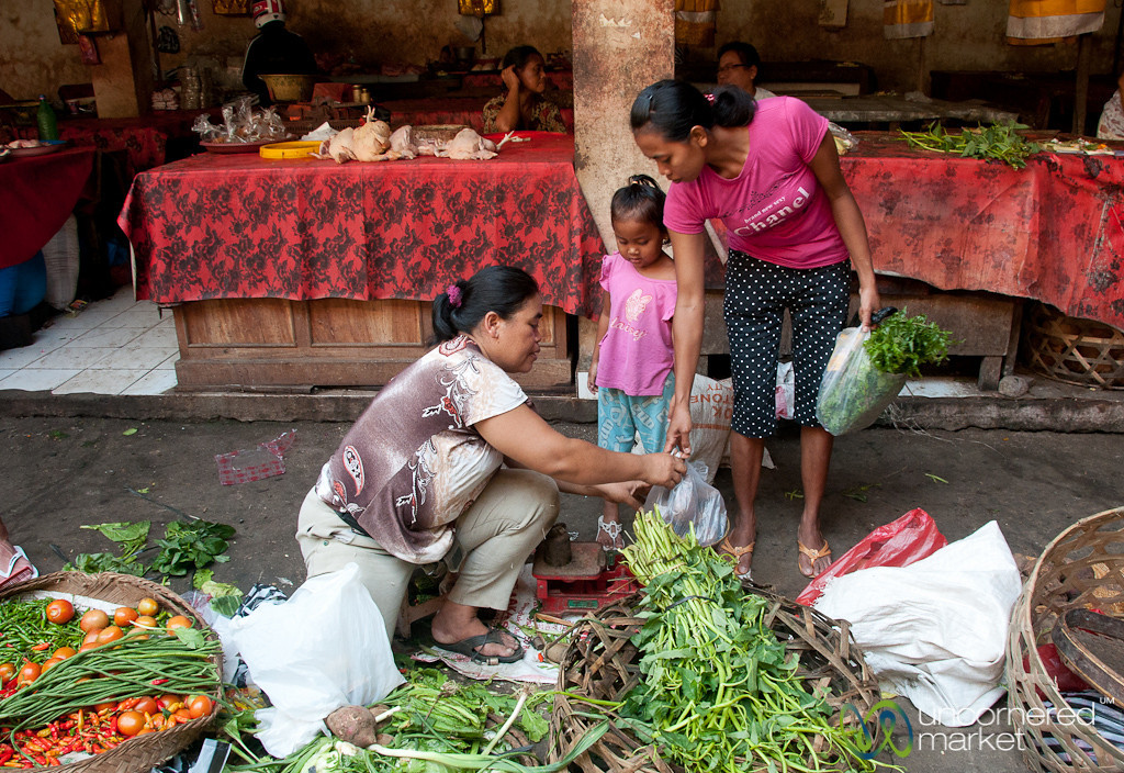 Shopping for Greens at Ubud Market - Bali, Indonesia
