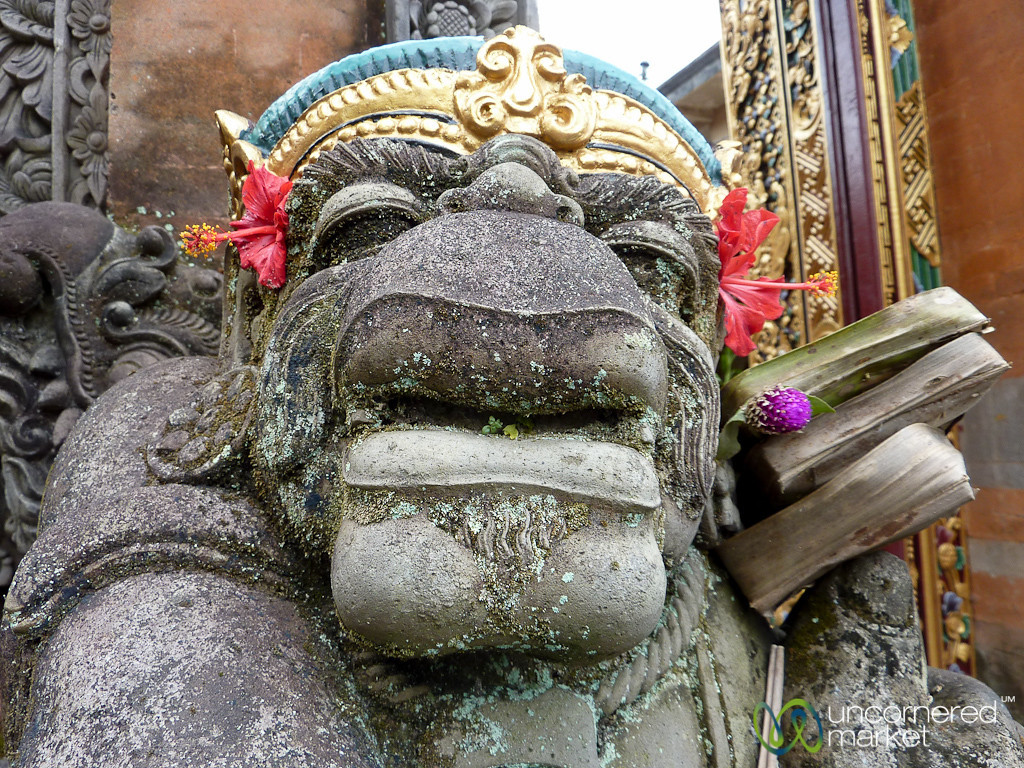 Statue with Flowers and Offerings - Ubud, Bali