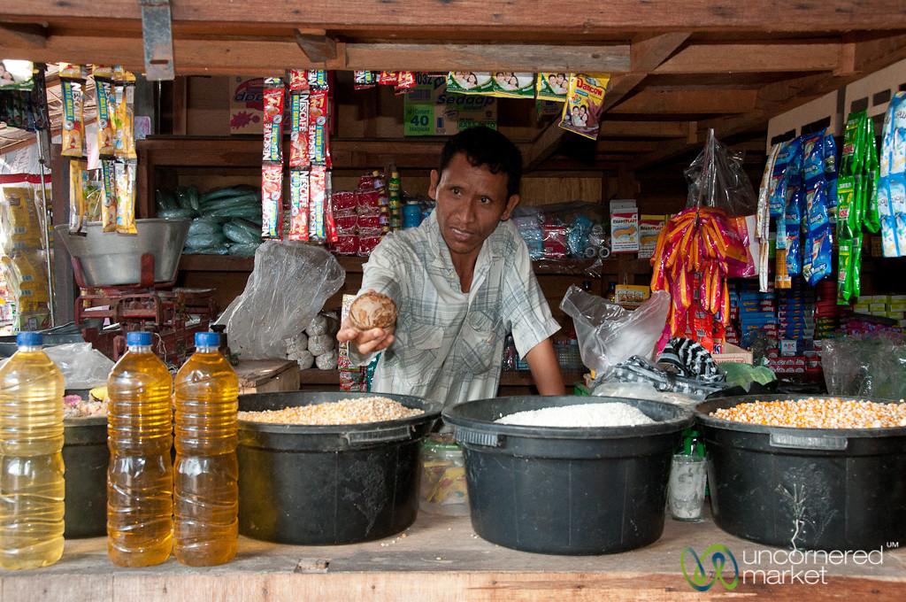 Vendor Gives Us Sample of Palm Sugar - Semarapura, Bali