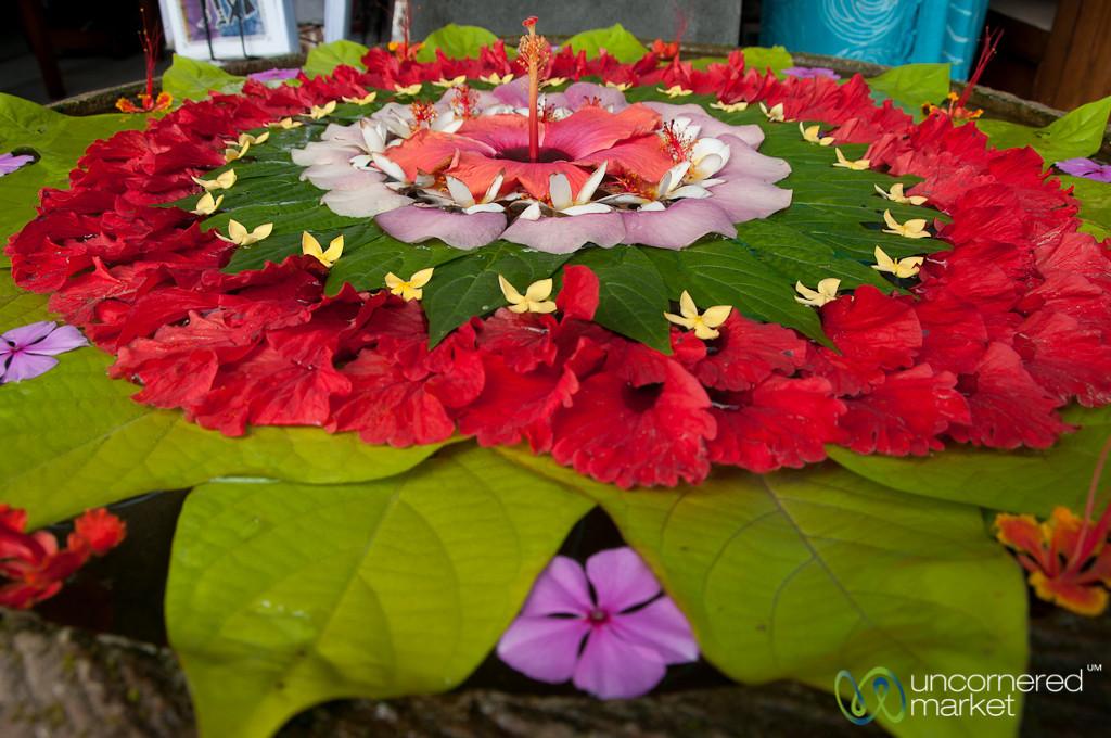 Flower Art on Streets of Ubud - Bali, Indonesia