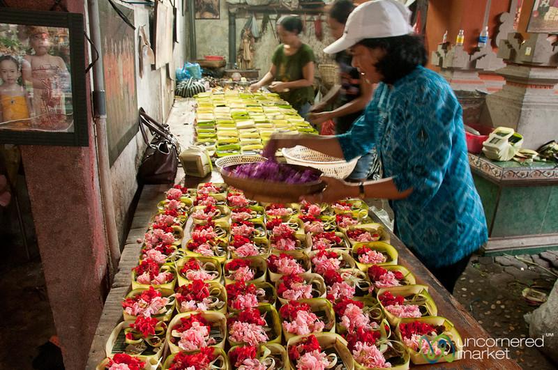 Preparing Offerings for Full Moon Ceremony - Sanur, Bali