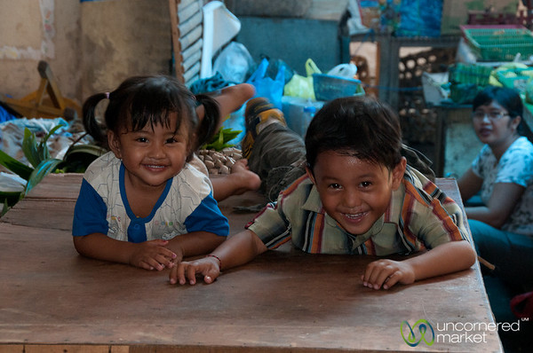 Laughing Kids at the Market - Semarapura, Bali