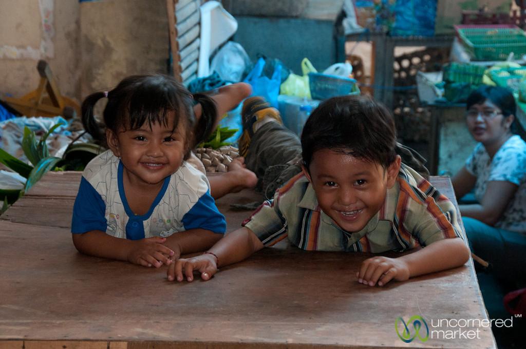 Laughing Kids at the Market - Semarapura, Bali